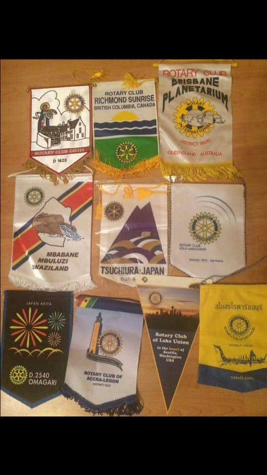 A selection of penants received from Rotary Visitors over Sarah's term as President